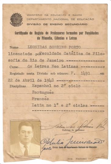 Certificado de Registo de Professores formados por Faculdades de Filosofia, Ciências e Letras, 22 de abril 1948